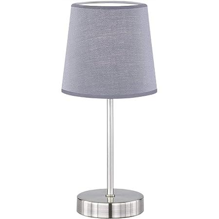 Lampe de table design moderne, lampe de chevet tissu grise, Lampe de bureau simple et moderne avec abat-jour en tissu, E14, non compris l'ampoule (Grise)