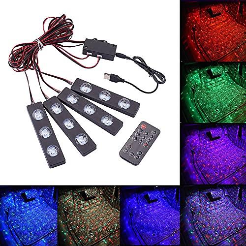 Blueshyhall Tira de luces LED multicolor para interior del coche, lámpara ambiental con puerto USB