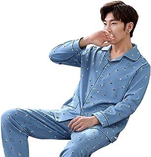 パジャマ メンズ 長袖 快適な睡眠を 上下 セット 寝間着 前開き シンプル ネイビー 多色 大きなサイズ