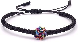BENAVA - Bracciale buddista tibetano portafortuna, nero, fatto a mano, braccialetto dell'amicizia