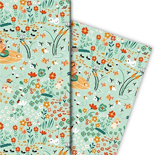 Lustiges Frosch Geschenkpapier Set (4 Bogen), Dekorpapier, Papier zum Einpacken mit Fischen und Blumen, mint, für tolle Geschenk Verpackung und Überraschungen 32 x 48cm