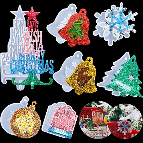 7 Pieces Christmas Resin Silicone Molds 3D Christmas Tree Mold Pendant Decoration Molds with Hanging Hole Include Bells, Elk, Christmas Tree, Round Snowflakes Pendant, Love Tag for Xmas Home Decor