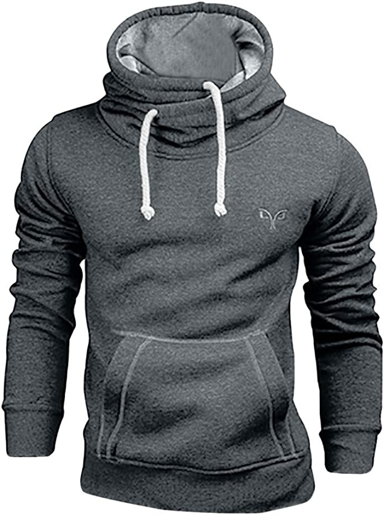 Hoodies for Men Pullover Lightweight Mens Solid Color Long Sleeve Drawstring Hoodies Casual Hooded Pullover Outwear