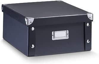 Zeller 17918 Caja de almacenaje de cartón Negro (Schwarz) 31 x 26 x 14 cm