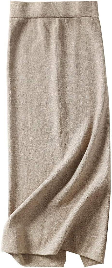 utcoco Women's Casual Elastic Waist Hip-Packaged Side Slit Midi Long Knitted Skirt