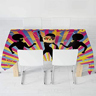TecBillion Soft Tablecloth,70s Party Decorations,for Buffet Table Parties Holiday Dinner Wedding & More,104.3 X 52 Inch,Dancing People Silhouettes with Afro Hair Disco