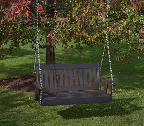 Ecommersify Inc 4FT-Black-Poly Lumber Mission Porch Swing Heavy Duty Everlasting PolyTuf HDPE - Made in USA - Amish Crafted