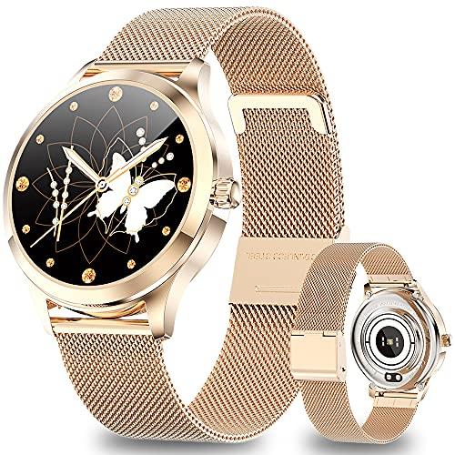 ANMI Smartwatch Mujer Reloj Inteligente Impermeable IP68, Pulsera de Actividad Inteligente con Monitor de Sueño Pulsómetro Podómetro Contador de Caloría para Android iOS (Oro)