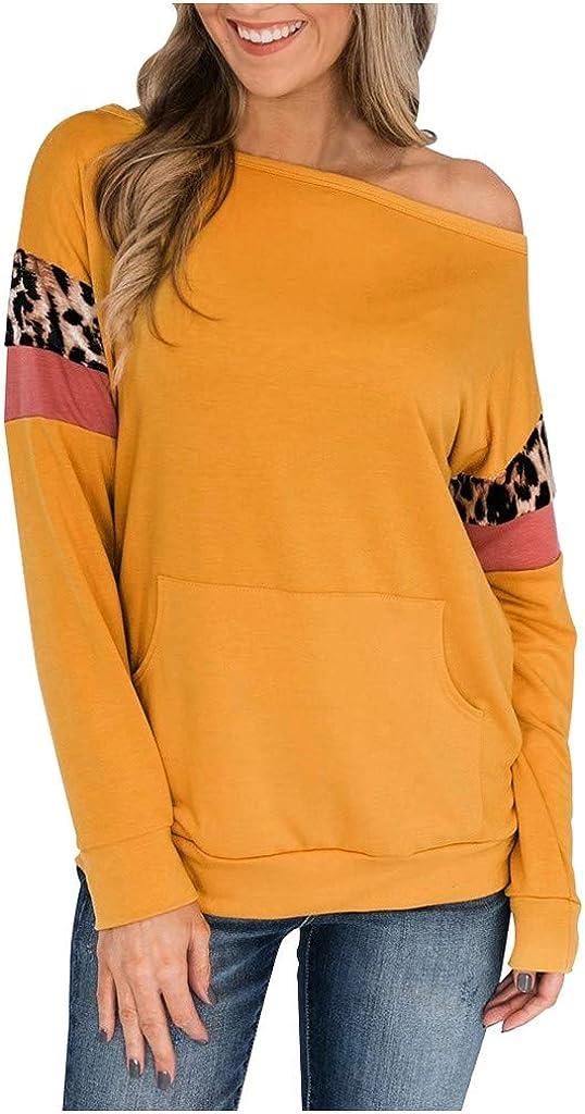 Long Sleeve Tunic Sweaters Women NRUTUP Leopard Printing Color Block Shirts Pocket Off Shoulder Sweatshirt Blouse