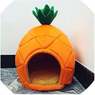 LinJiaJia_shop Creative Kennel Cat Nest Teddy Dog Fruit Banana Strawberry Pineapple Watermelon Cotton Bed Warm pet Products Foldable Dog House