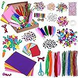Kit de Manualidades para Niños, Pipe Cleaners Crafts Set Pompones Ojos Manualidades Juego Creativo Regalo para Craft Juego Creativo Regalo para DIY Craft Art Supplies 1000+ Pcs