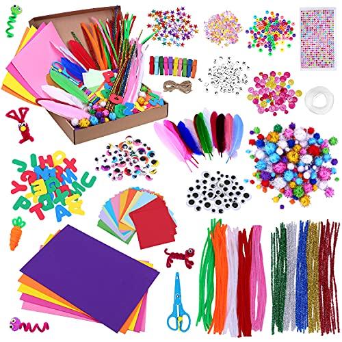 Lavoretti Creativi per Bambini 1000+ PCS, Set Bricolage, Craft Kit per Hobby Creativi con Pompom Colorati, e Scovolini Pipa Ciniglia, Piccole Clip, Adesivi, Piuma, Paillettes, Occhi Finti