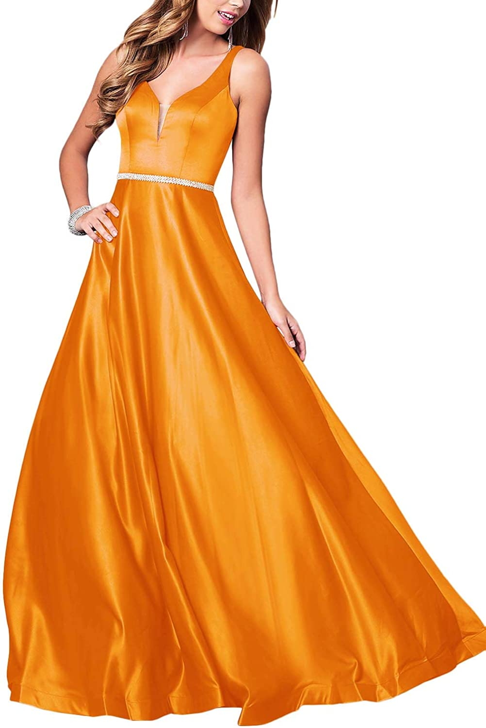 RTTUTED V Neckline Long Satin Prom Dress for Women with Pockets Formal Party Ball Gowns