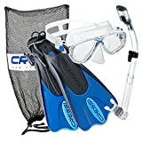 Cressi Palau Mask Fin Snorkel Set with Snorkeling Gear Bag, Blue, L/XL |