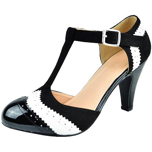 2fbbffd1a84b Cambridge Select Women's T-Strap Wingtip Style Cut Out Mid Heel Dress Pump