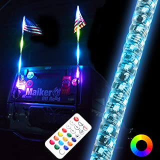 Maiker 3FT Dancing LED Whip Lights w/Flag 360° Twisted for Offroad Jeep Polaris RZR UTV ATV Sand Dune Buggy Quad Truck Boat(1 pair)