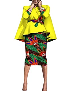 193528ec973 Vska Womens Africa Batik Accept-Waist Two-piece Suit Dashiki Bodycon Skirt