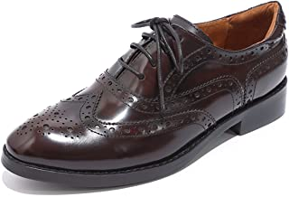 Women's Leather Perforated Lace-up Oxfords Brogue Wingtip Derby Saddle Shoes for Girls ladis Women