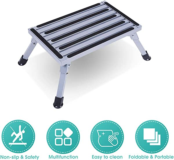 Folding Platform Step Stool Aluminum Platform Stool Chair Safety Anti Skid Work Platform Bench With Rubber Feet And Vertical Surface For Kitchen RV Camper 440lbs Capacity Grey