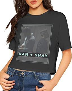 Dan + Shay Womens Crop Top Sexy Exposed Navel Female T-Shirt Short Sleeve Top L Black