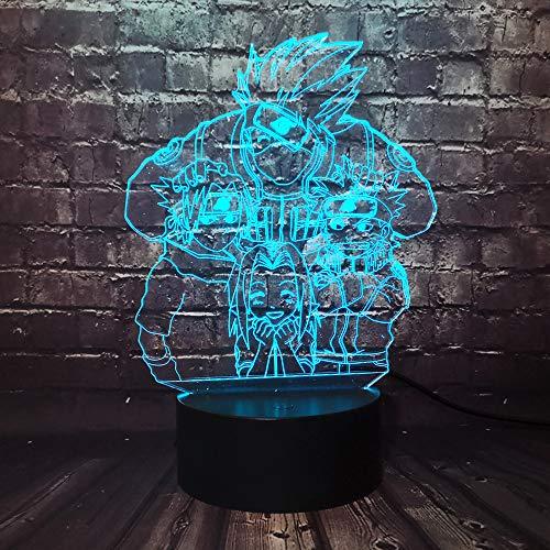 Naruto Sasuke Uzumaki Naruto 3D óptico 7 colores cambiantes lámpara de mesa LED Japón cómic Sakura Boy Sleep Mood luz nocturna para dormitorio de niños, vacaciones, regalo de cumpleaños o Navidad