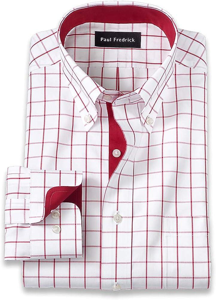 Paul Fredrick Men's Slim Fit Non-Iron Cotton Windowpane Dress Shirt