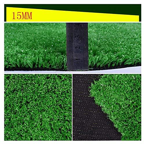 CWW Künstlicher Rasen, wasserfest, 15 mm, künstlicher Rasenteppich, schwer entflammbar, hohe Dichte, Boden/Dach/Hof, Dekoration für den Außenbereich 2 x 5 m.
