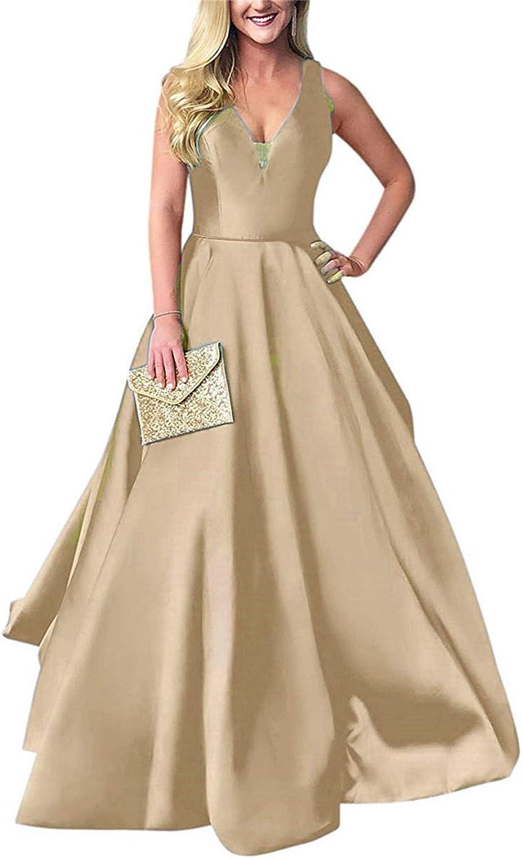 Liangjinsmkj V Neck Prom Dresses for Women Long Satin Evening Party Ball Gowns Formal