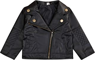 Noubeau Toddler Boys Girls Motorcycle Faux Leather Jackets Coat Winter Outwear for 1-5Y