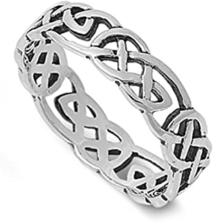 59b463a1150275 Sterling Silver Women's Men's Celtic Knot Infinity Ring Fashion Band Sizes  ...