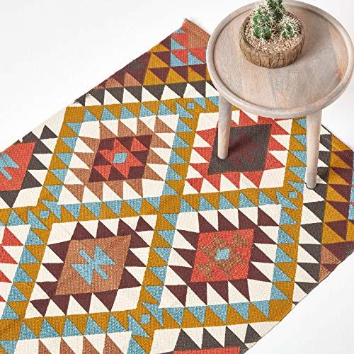 Homescapes Teppich/Bettvorleger Oslo, handgewebt aus 100% Baumwolle, 90 x 150 cm, Baumwollteppich mit Buntem geometrischem Rautenmuster