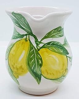 Brocca Linea Limoni 13 x 12 cm Ceramica Realizzato e Dipinto a Mano Le Ceramiche del Castello Made in Italy