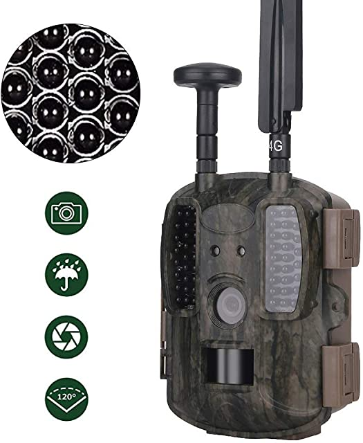 ZY Cámara De La Caza De La Fauna Cámaras Movimiento Scout Trail Cámaras De 12MP 1080P Impermeable con Red 4G Visión Nocturna Operation Support App