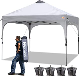 ABCCANOPY Canopy Tent 10x10 Pop Up Canopy Instant Tents Outdoor Canopies Popup Beach Canopy Shade Canopy Tent with Wheeled Carry Bag Bonus 4 Weight Bags, 4 x Ropes& 4 x Stakes, Gray