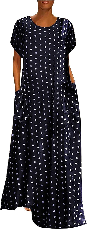 Cbcbtwo Womens Summer Fashion Casual O-Neck Polka Dot Printing Short Sleeve Loose Long Maxi Dress with Pockets