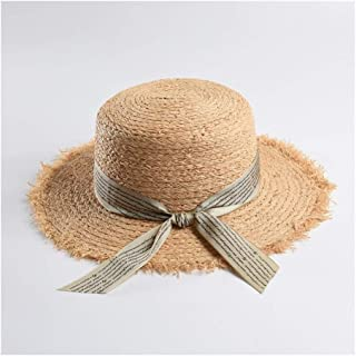 Natural Lafite Straw hat Female Wild Flat top hat Letter Ribbon Beach hat Visor` TuanTuan (Color : Grey, Size : M56-58cm)
