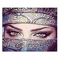5D DIY ダイヤモンドペインティングキット 大きな目をした仮面の女の子 大人初心者向け ダイヤモンドクリスタル ーペイント ダイヤモンドアートクラフト ホームウォールデコレーショ 30x40cm