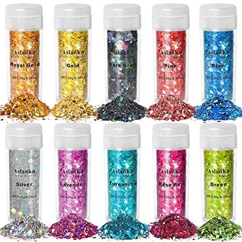 Aslanka Paillettes per Unghie, Set glitter 10 colori, 100g Chunky Glitter Olografico per Viso, Corpo, Occhi, Capelli, Unghie e Arte Fai da te