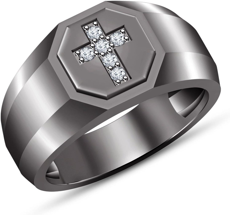 Vorra Fashion Black Rhodium Plated Men's Cross Wedding Ring In Round Cut White Cubic Zirconia