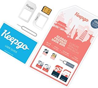 Keepgo Global Lifetime 4G LTE Data SIM Card for Europe, Asia & The Americas + 1GB Credit