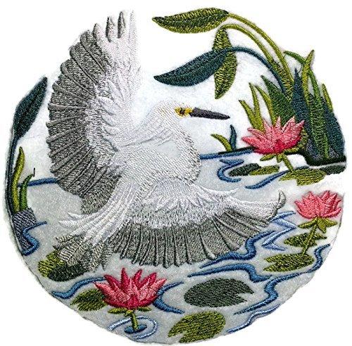 BeyondVision [Snowy Egret] Natuur Geweven In Threads Geweldige Vogels Koninkrijk Geborduurd Ijzer Op Naaipatch 5.87 x 5.85 Grijs, zwart, Wit, groen, rood