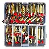 Fishinghappy 35pcs Fishing Lure Spinnerbait,Bass Trout Salmon Crappie Freshwater Saltwater Hard Metal Spinner Baits Kit Spoon Bait Fishing in a Fishing Tackle Box
