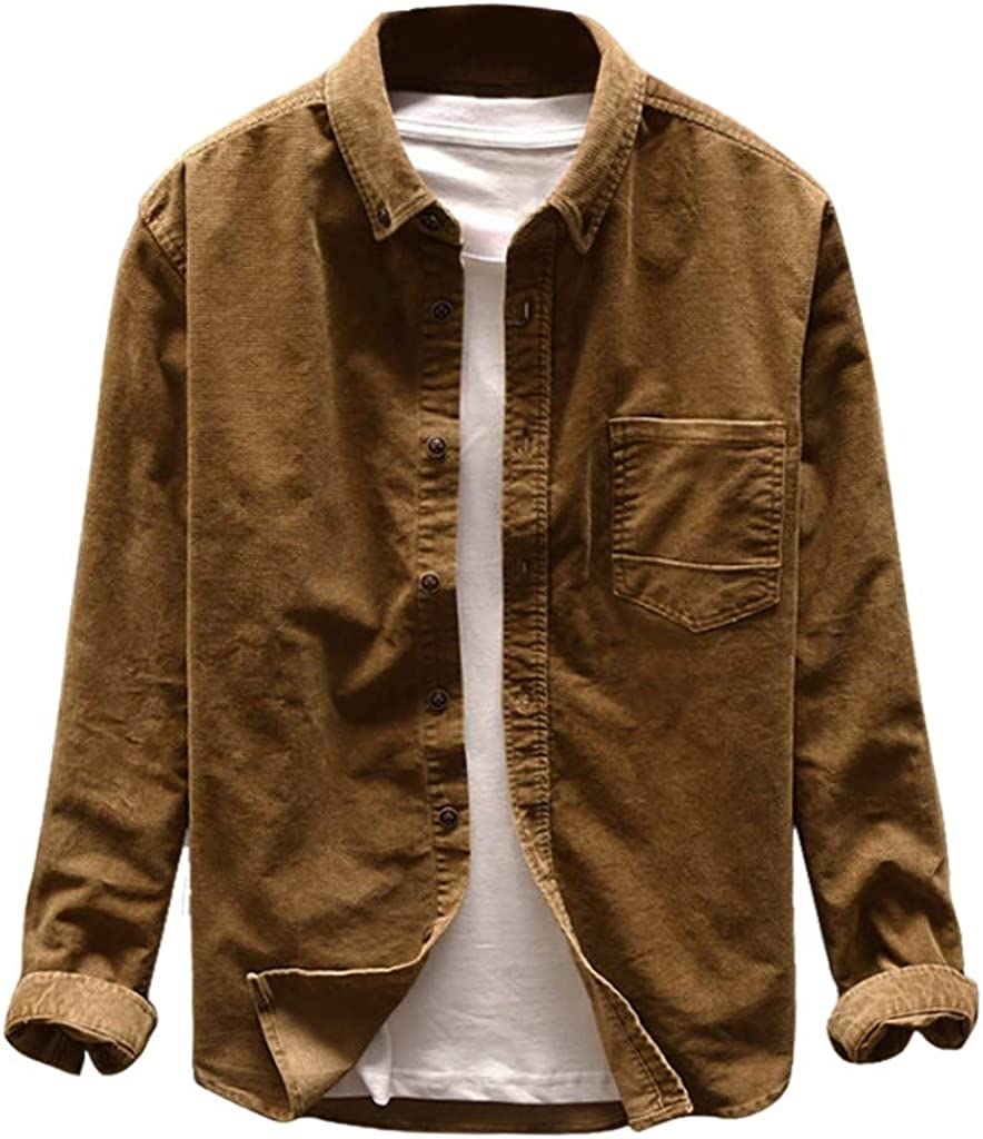 Men's Vintage Solid Color Corduroy Casual Shirts Long Limited time trial price But Sleeve All items in the store