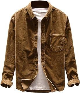 waotier Camisas Casual Chaquetas Hombre Otoño Moda Pana Abrigo Casual Manga Larga Color sólido Tops Botón Pana Blusa Casual