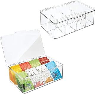 mDesign boîte à thé (lot de 2) – boîte de rangement plastique empilable pour sachets de thé, café, etc. – rangement de cui...