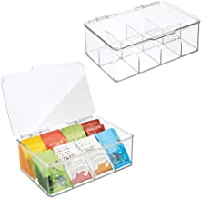 mDesign Stackable Plastic Tea Bag Holder Storage Bin Box for Kitchen Cabinets, Countertops, Pantry - Organizer Holds Bever...