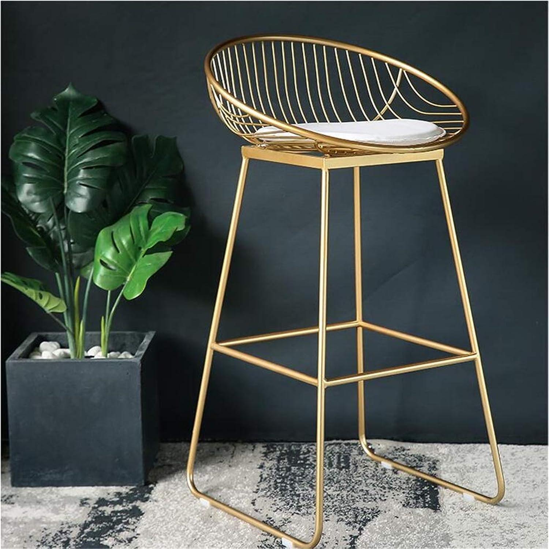 DQMS Nordic Bar Stool Wrought Iron Bar Stool High Stool gold Modern Minimalist Casual Metal Chair (Size   72cm)