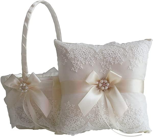 Alex Emotions Ivory Flower Girl Basket And Ring Bearer Pillow Set Ivory Wedding Basket Pillow Set Lace Ring Pillow Lace Ring Holder Lace Ring Pillow