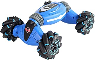 Stunt RC Car, 2.4G Gesture Sensing Dual Remote Control 4WD Climbing Stunt Buggy 100M Distance with Light& Music Twisting Vehicle Drift Dancing Side Driving Toy Xmas Gift for Kids Adults (Blue)
