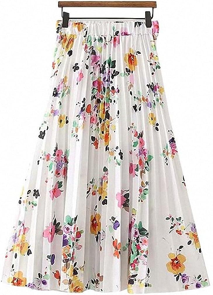 Womens Sweet Floral Pattern Pleated Skirt Elastic Waist Faldas Mujer Ladies Summer Casual Chic Midi Skirts
